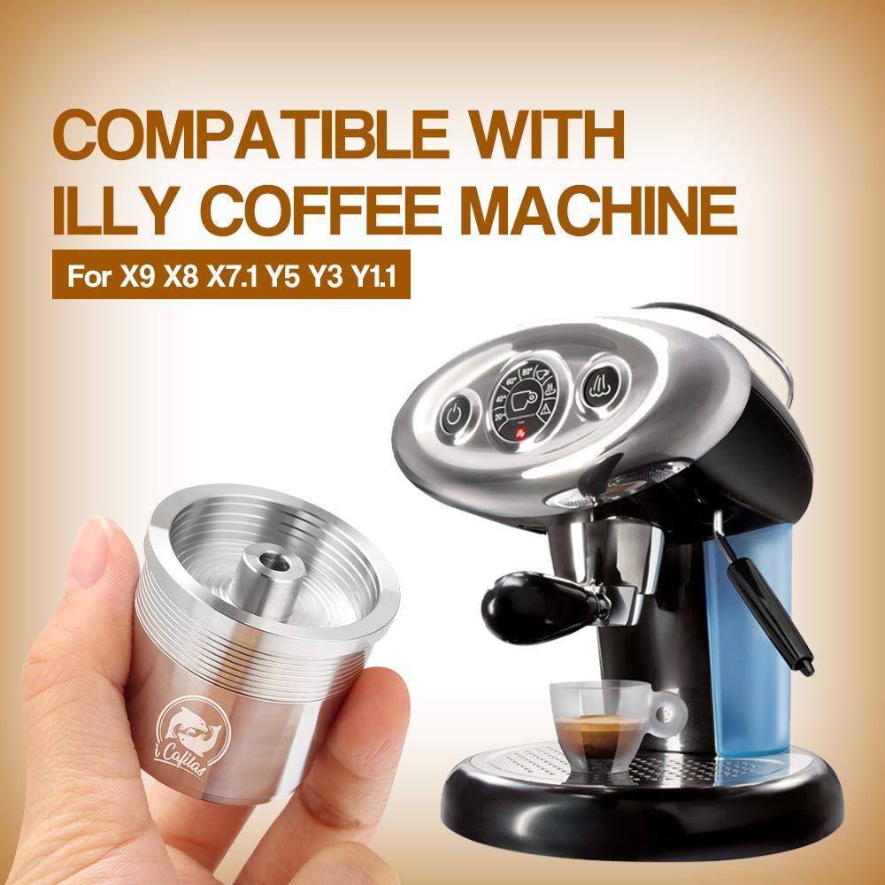 Decdeal Taza de cápsula de café rellenable de acero inoxidable con botón giratorio para cafetera Illy X9, X8, X7.1, Y5, Y3, Y1.1