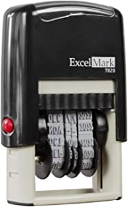 ExcelMark 7820 Self-Inking Rubber Date Stamp – Great for Shipping, Receiving, Expiration and Due Dates (Red Ink)