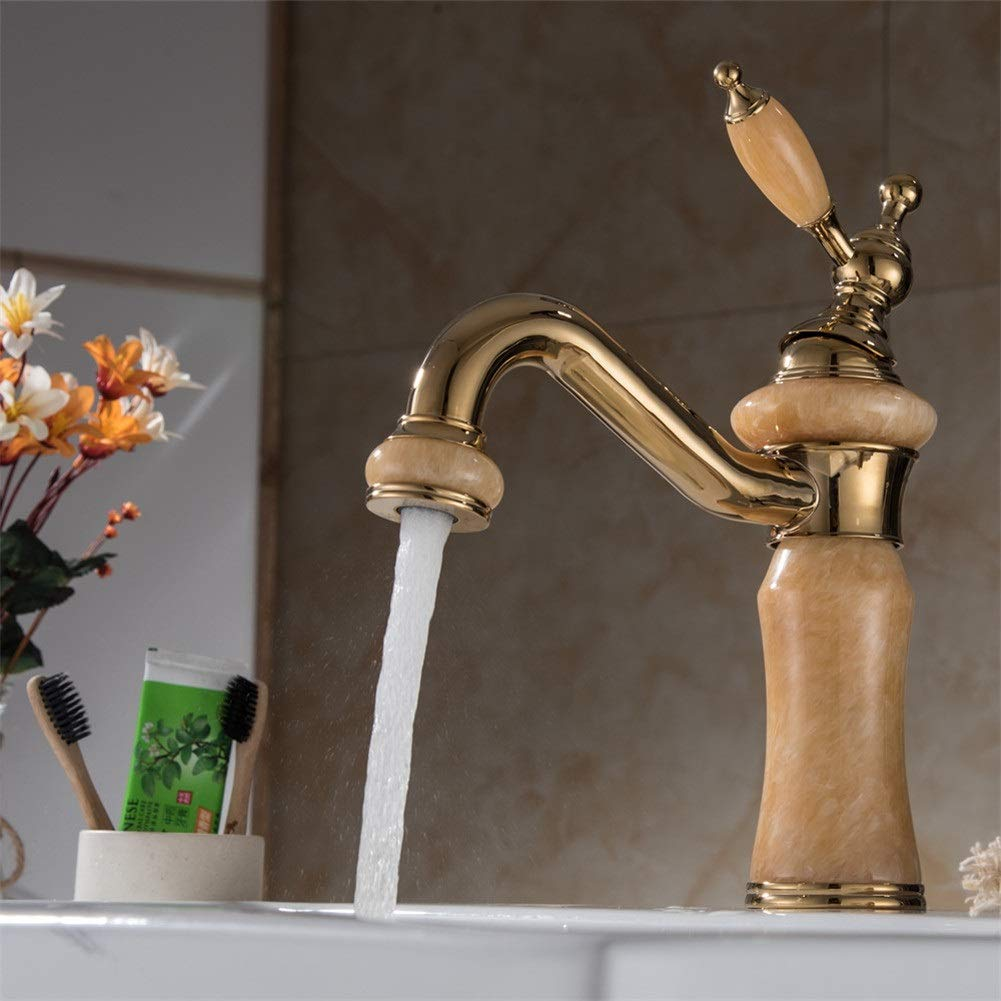 Basin Taps Rose Gold Jade Stone European Style Hot and Cold Bathroom Basin Sink Mixed Water Faucet (Color : B)