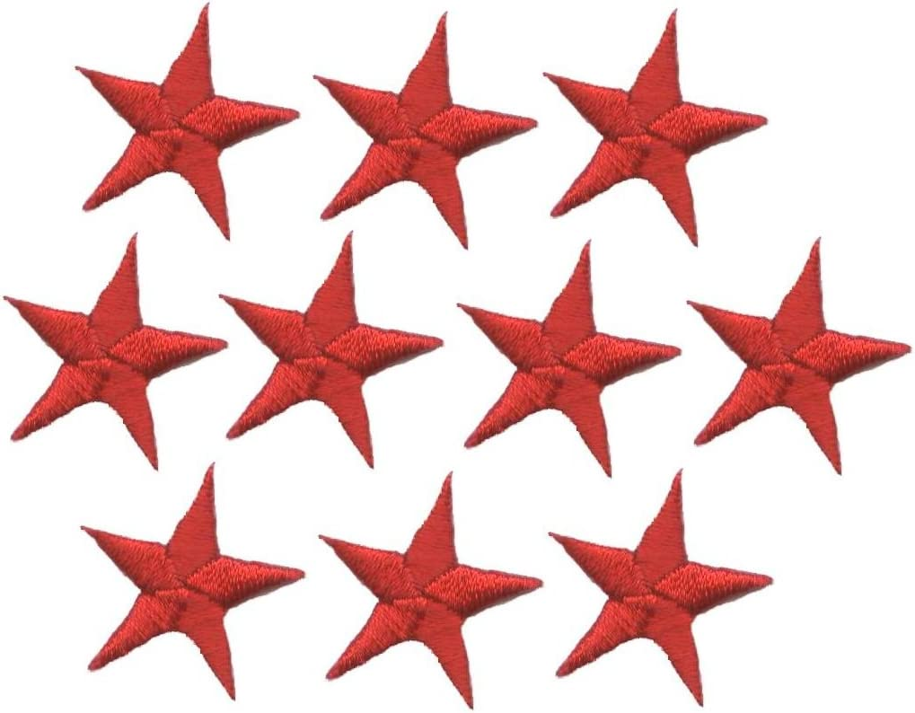 """RED 7//8/"""" STARS -Iron On Embroidered Applique 5 Pieces STARS"""