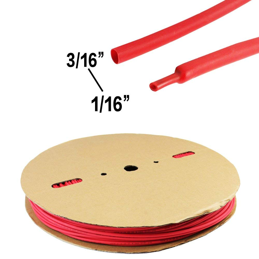 Heat Shrink Tubing Double Wall with Adhesive,Waterproof Protective Flame Retardant Car Electrical Cable,Terminals Connectors 3:1 Ratio Red 3/16'' Diameter 35ft