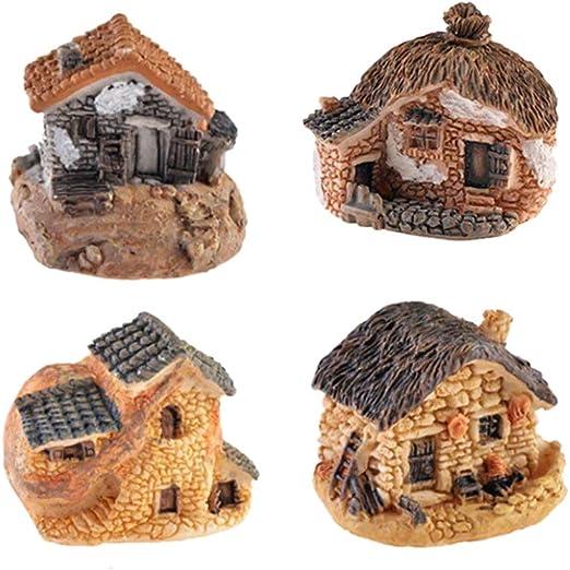 RETYLY Paquete De 4 Hada Miniatura Accesorios De Cabana Casa Jardin para Jardin Patio Casa Decoracion Exterior: Amazon.es: Hogar