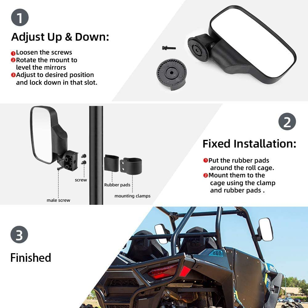 KEMIMOTO Off-road Break Away Rear View Side Mirrors for UTV Honda Pioneer Polaris RZR Ranger Can Am Kawasaki Mule Yamaha Rhino for 1.6-2 Roll Cage Shatter Proof Tempered Glass