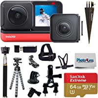 Insta360 ONE R Twin Edition (360 Camera + 4K Wide Angle) + SanDisk 64GB SD Card + Monopod + Chest Strap + Head Strap…