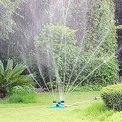 Hangang Aspersor de césped Aspersor automático de Agua de jardín 360 Grados con Sistema de riego de 3 Brazos: Amazon.es: Jardín