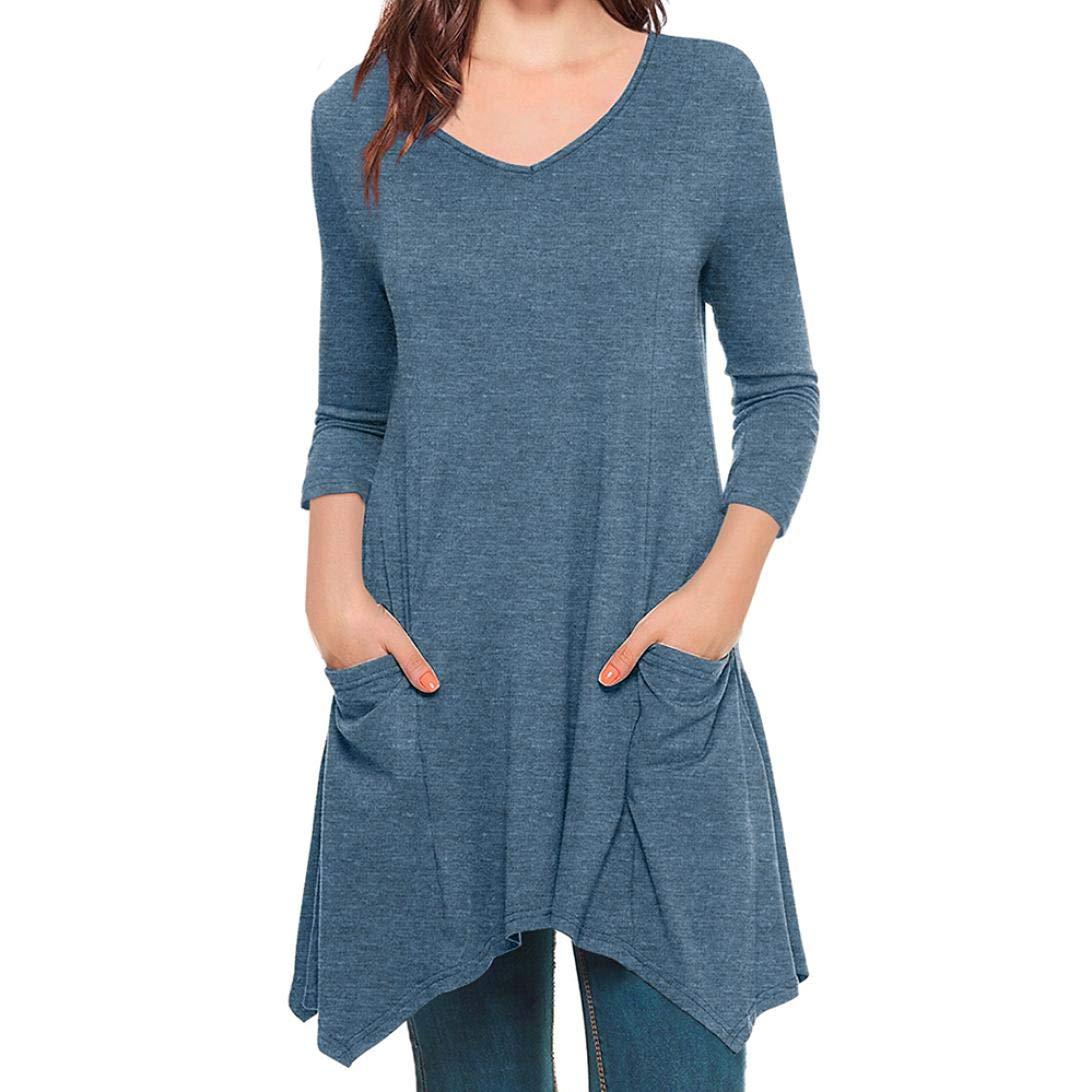 ZIYOU Übergröße Pullover mit V-Ausschnitt Frauen, Damen Lange Patchwork Bluse Tops Langarm Shirt Slim fit Cosy Oberteile