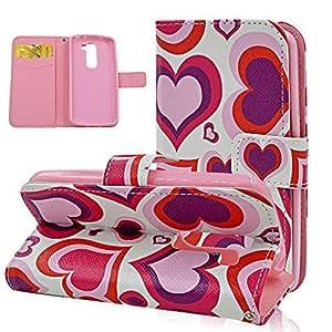 Seedan Pink Love Heart LG G2 Mini D620 Case - Card Holder Magnetic Clasp Folio Slim Cover Flip Leather Wallet Case