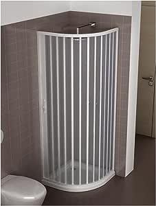 Mampara de Ducha Extensible en PVC Blanco Semicircular Abertura Lateral (L 70/80 x H 185): Amazon.es: Bricolaje y herramientas
