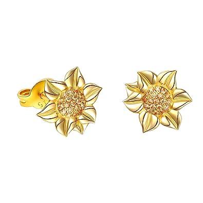 0bd17640d DAOCHONG Stud Earrings S925 Sterling Silver Sunflower Earrings CZ Dancing Flower  Earrings Women Jewellery Set