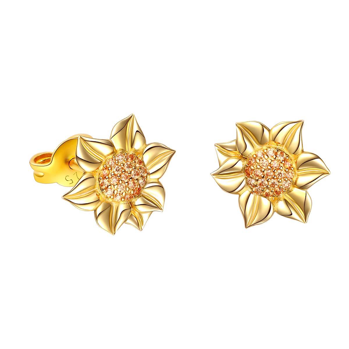 S925 Sterling Silver Sunflower with CZ Pendant Necklace Ring Earrings Bracelet Jewelry Set for Women 18'' (Earrings)