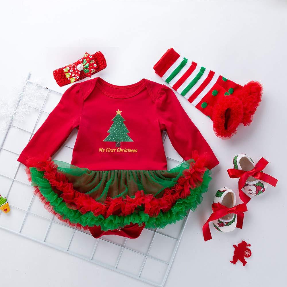 Onefa 4PCS Newborn Baby Girls Tutu Dress Princess Snowflake Christmas Outfits Set