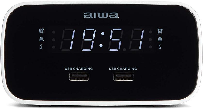 Aiwa Cru 19bk Radio Schwarz Radiowecker Led Display Dimmerfunktion Küche Haushalt