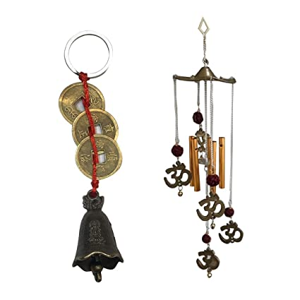 Ryme Combo of Om Rudraksha Wind Chime & Chinese Lucky Brass Door Bell Hanging