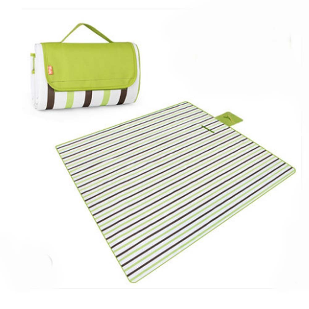 Extra Large Picnic Blanket Waterproof Travel Blanket Green Stripes 79 * 79 inch