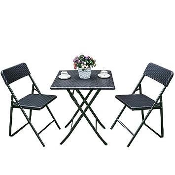 iKayaa - Ensemble table et chaises pliant style résine tressée ...