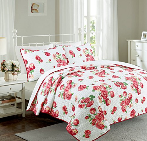 Cozy Line Home Fashions Bubble Love Bedding Quilt Set, Red White Shabby Chic Floral Print Pattern 100% Polyester Reversible Coverlet, Bedspread (White/Roses, Queen - 3 Piece)