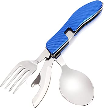 3-en-1 portátil de acero inoxidable multifunción Camping utensilios Set cubiertos plegable comer herramientas tenedor cuchillo cuchara destapador para ...