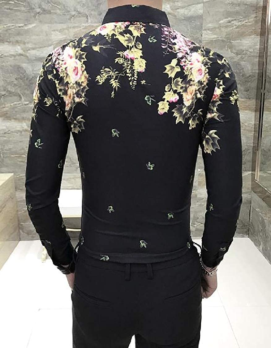 FieerMen Lapel Buttons Floral Printed Long Sleeve Silm Fit Dress Shirts