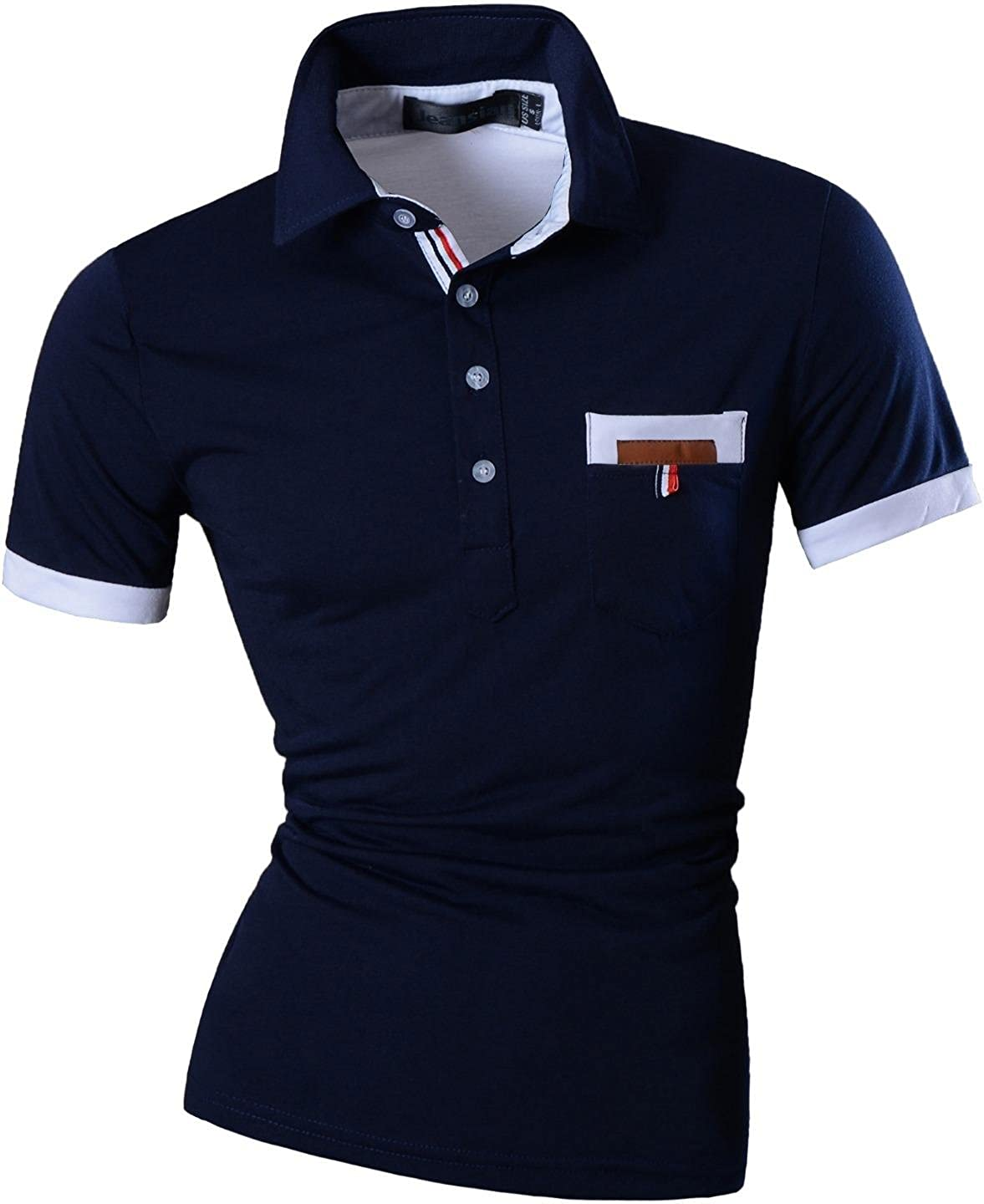 jeansian Mens Slim Fit Short Sleeves Casual Polo Tee T-Shirts U012