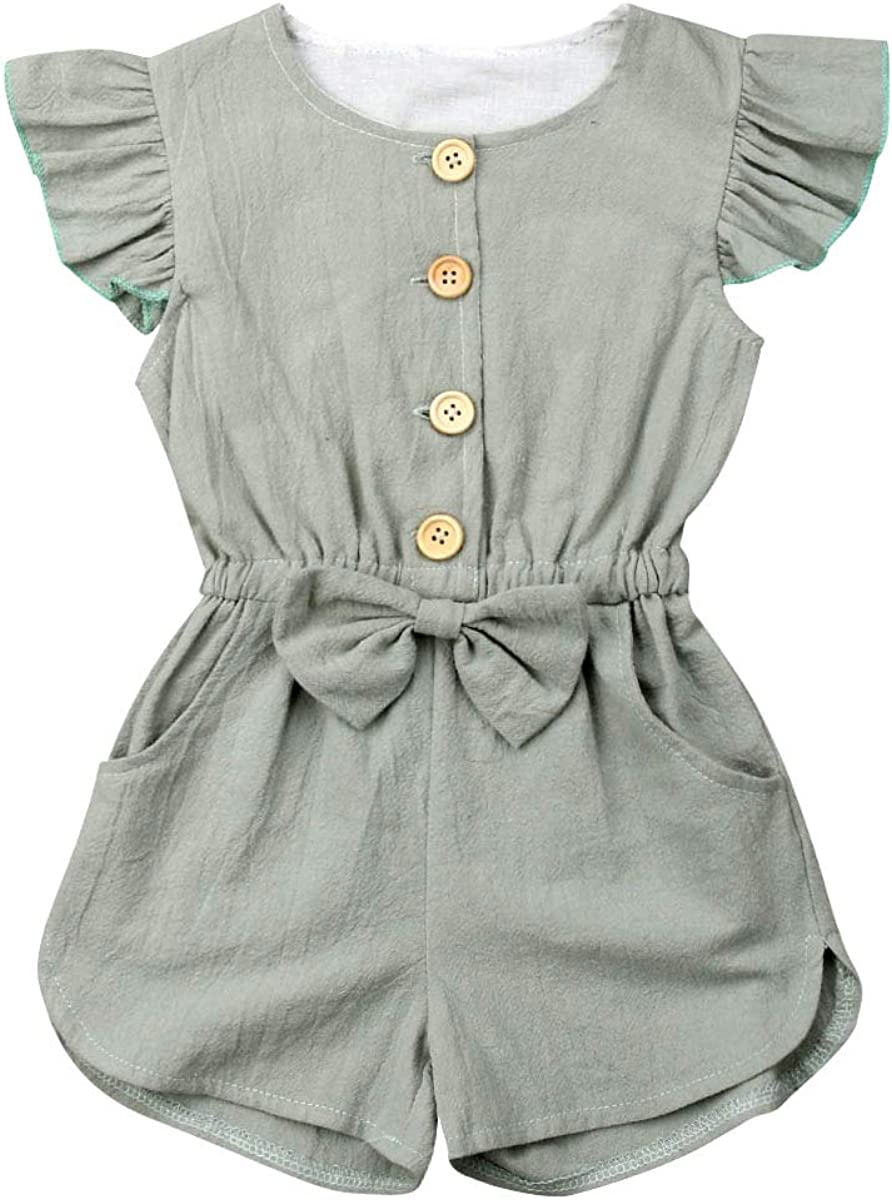 Toddler Kids Baby Girl Flutter Sleeve/Sleeveless Romper Jumpsuit Botton  Down Shirt Tops with Bowknot