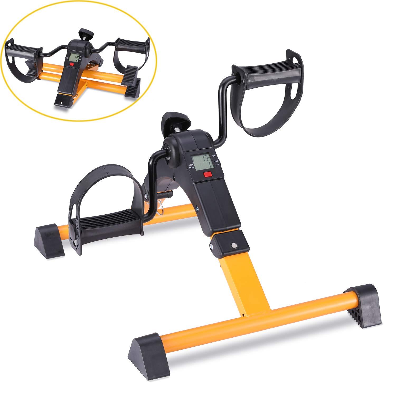 TODO Pedal Exerciser Foot Peddler Mini Bike Foldable with LCD Monitor (Orange)