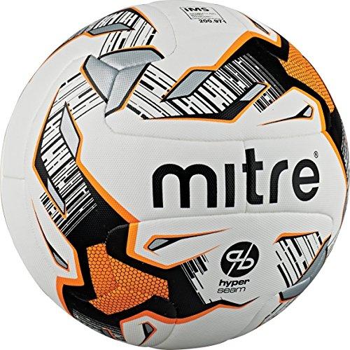 Mitre Ultimatch Hyperseam Match Football - White/Black/Orange, Size 5