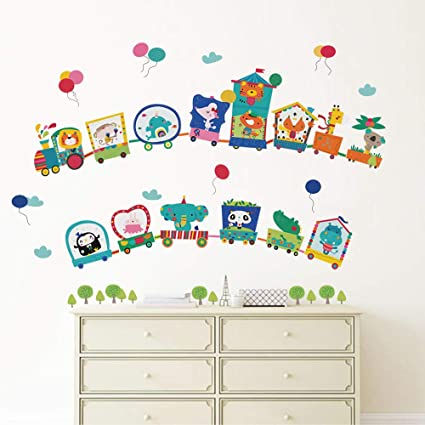 decalmile Animal Train Wall Decals Rabbit Giraffe Elephant Wall Stickers  Removable Kids Room Wall Decor for Baby Nursery Childrens Bedroom Playroom