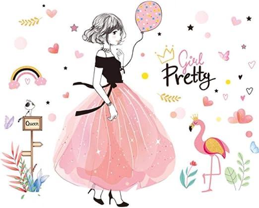 SHBRY Chica De Dibujos Animados Pegatinas De Pared DIY Flores ...