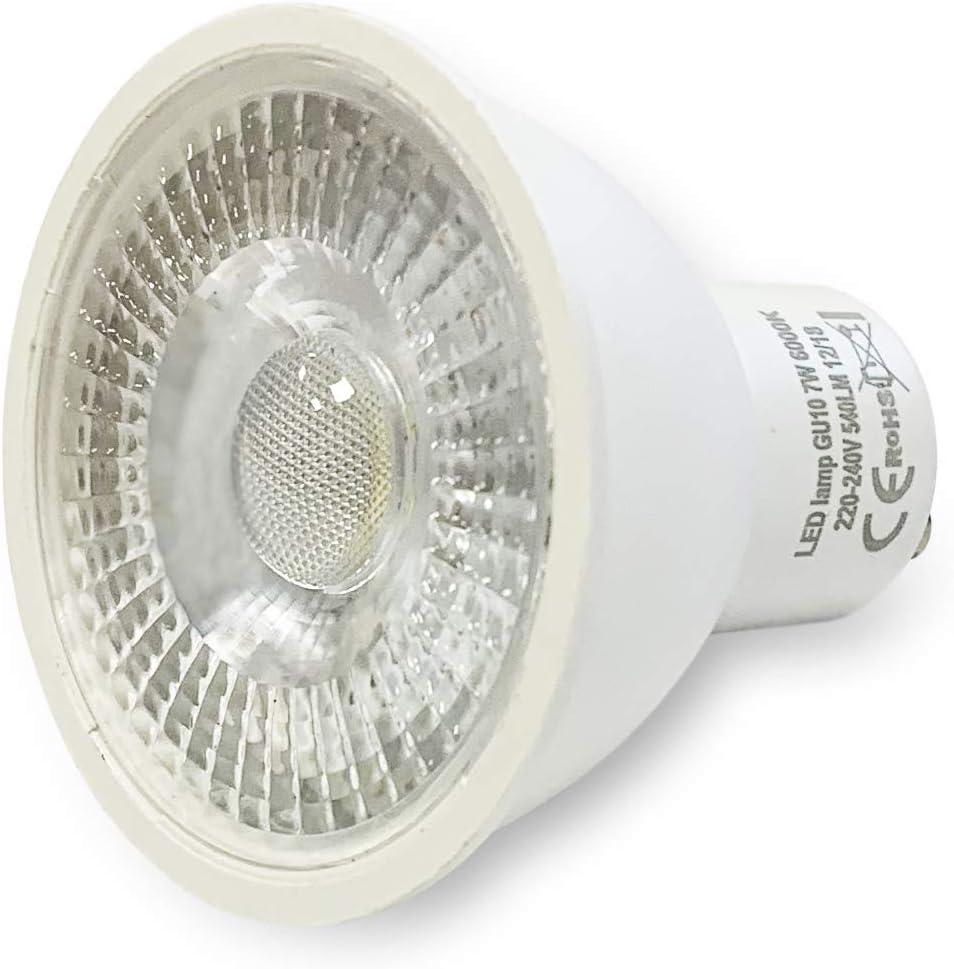 Disponible luz blanco frio Bombillasled360 Pack 5 focos empotrables cuadrados orientables incluye bombillas GU10 7W y casquillos blanco neutro o blanco c/álido Luz de techo Blanco frio