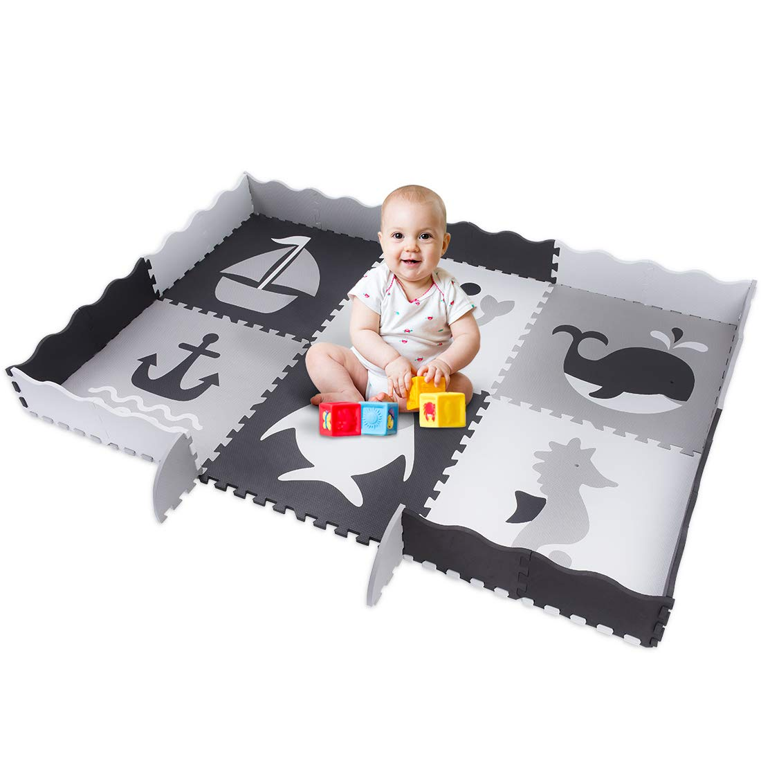 FORSTART Ocean-Themed 6.8FT 4.9FT Baby Play Mat 6 Pieces, 0.55 Thick ,Interlocking Soft Foam Floor Mat with Fence Including 6 Different Patterns for Kids, Toddlers, Babies