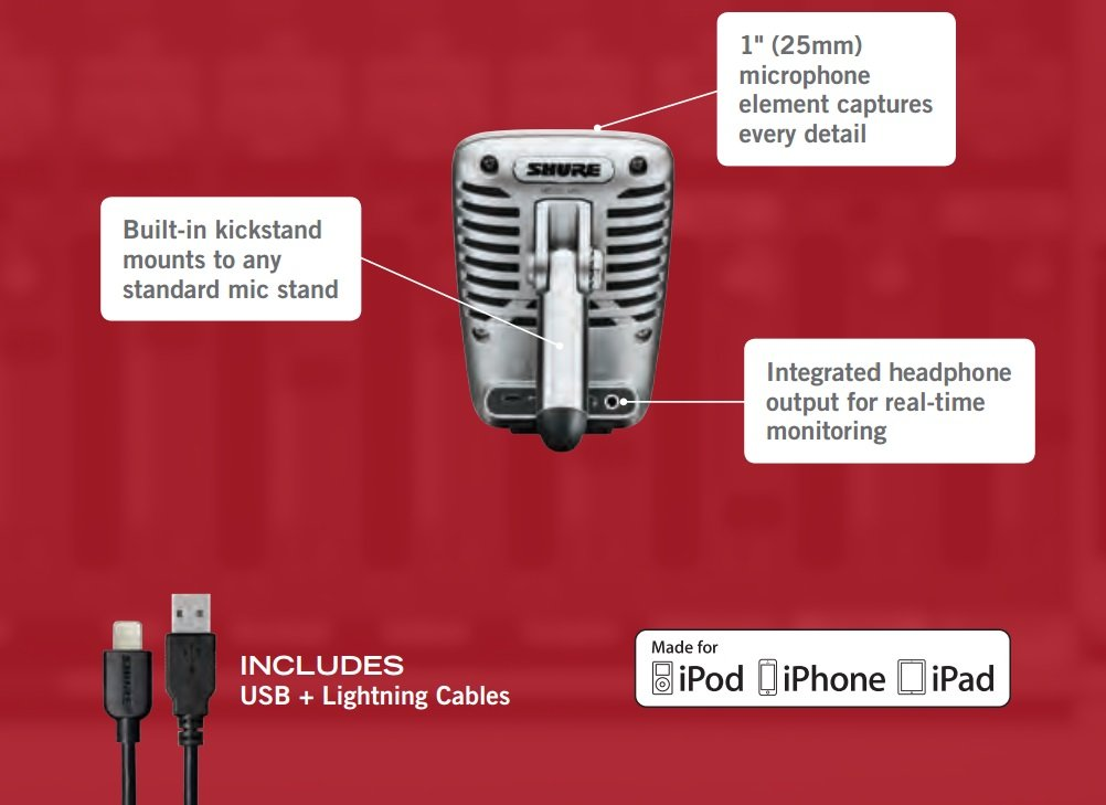 Shure MV51 Digital Large-Diaphragm Condenser Microphone + USB & Lightning Cable by Shure (Image #8)