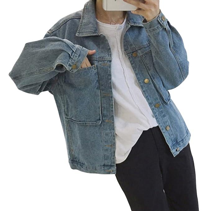 Mujeres Cazadora Vaquera Corto Chaquetas Jacket De Mezclilla Loose Fit Casual Manga Larga Abrigo Denim Jackets
