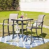 LOKATSE HOME Bar Stools and Table Height Bistro Set Outdoor Furniture, Gray