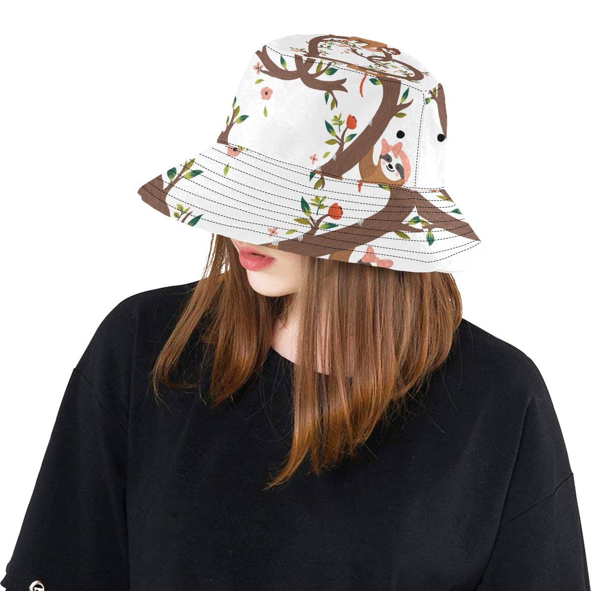 Funny Cartoon Printed Sloths New Summer Unisex Cotton Fashion Fishing Sun Bucket Hats for Kid Teens Women and Men with Customize Top Packable Fisherman Cap for Outdoor Travel