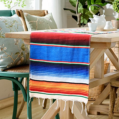 GARSEBO 14 X 84 Inch Mexican Serape Table Runner For Mexican Party Wedding  Decorations, Fringe
