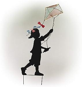 Alpine Corporation Solar Boy Silhouette Flying Kite Decor with LED Lights - Outdoor Yard Art Decor - 33