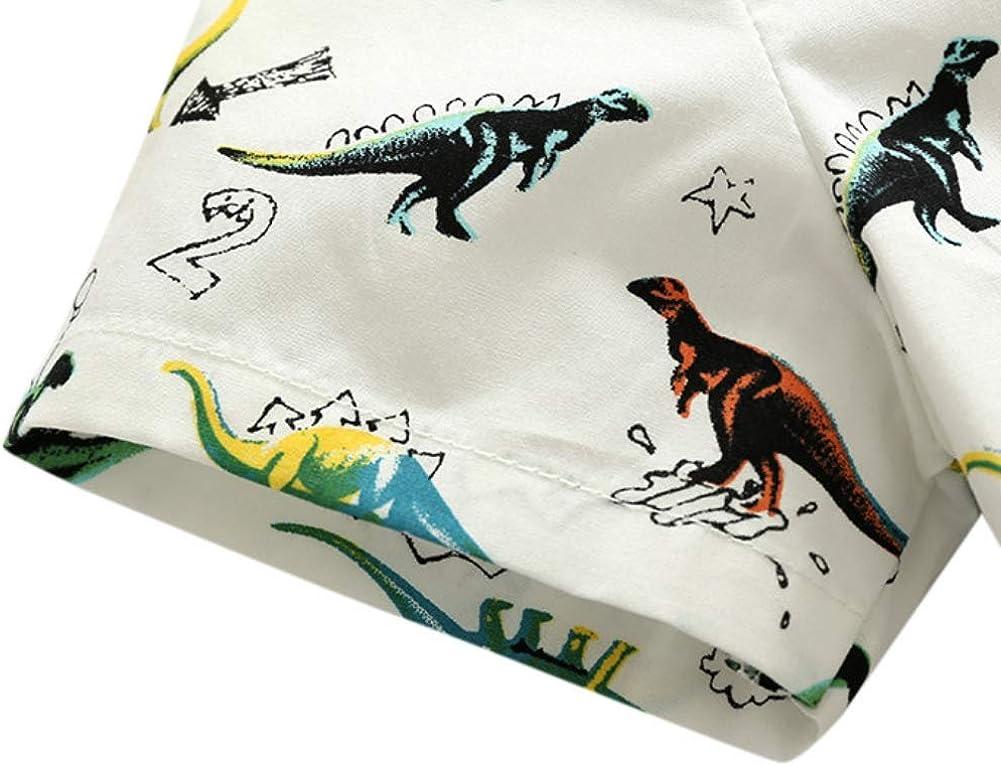 Yooan Baby Boys Short Sleeve Shirt Button Down Dress Cute Dinosaur Printed Blouse Tops