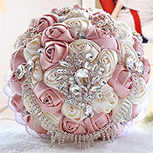 Zebratown 9'' Rose Satin Holding Flower Lace Pearl Brooch Rhinestones Bridal Bouquet Wedding Party Décor for Bride/Bridesmaid 78