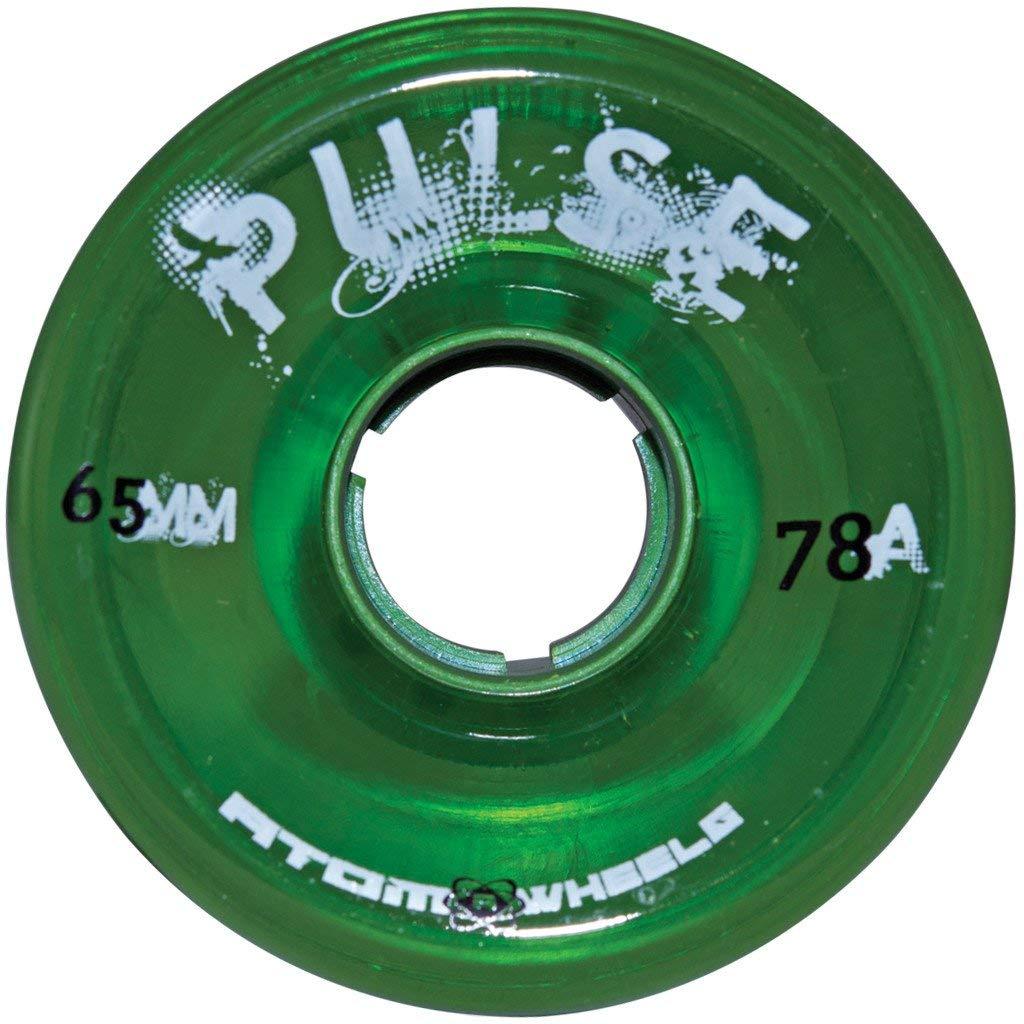 Atom Skates Pulse Outdoor Quad Roller Wheels 78A, Green, Set of 8, 65mm x 37mm by Atom Skates