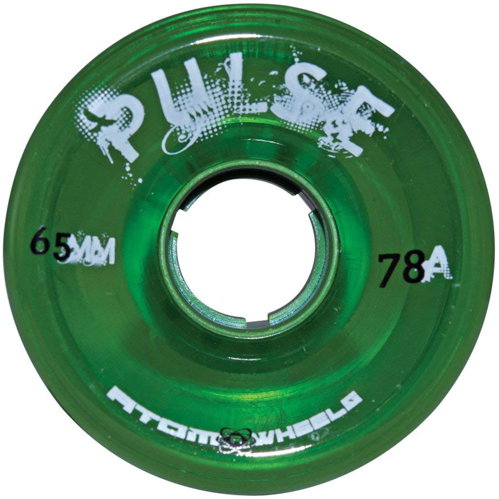 Atom Skates Pulse Outdoor Quad Roller Wheels 78A, Green, Set of 8, 65mm x 37mm