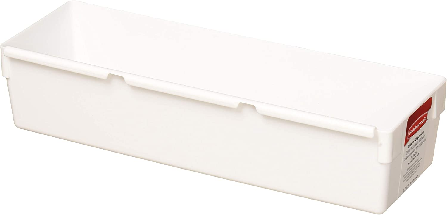 """Rubbermaid 9 by 3 by 2-Inch Drawer Organizer, White (Pack of 12), 9""""x3"""""""
