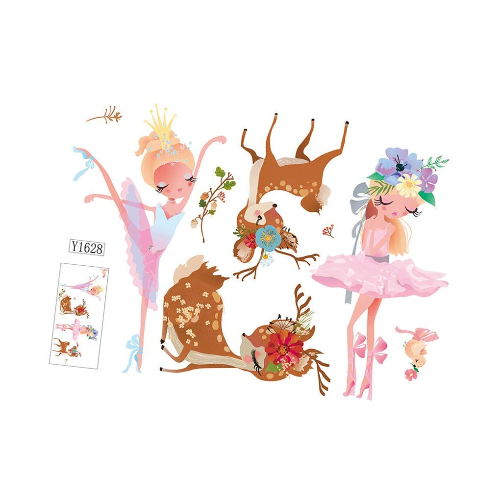 Baulody Christmas Disney Princess Royal Debut Peel and Deer Wall Decals Mobile Creative Wall Affixed with Decorative Wall Window Decoration 5070CM (Mutilcolor)