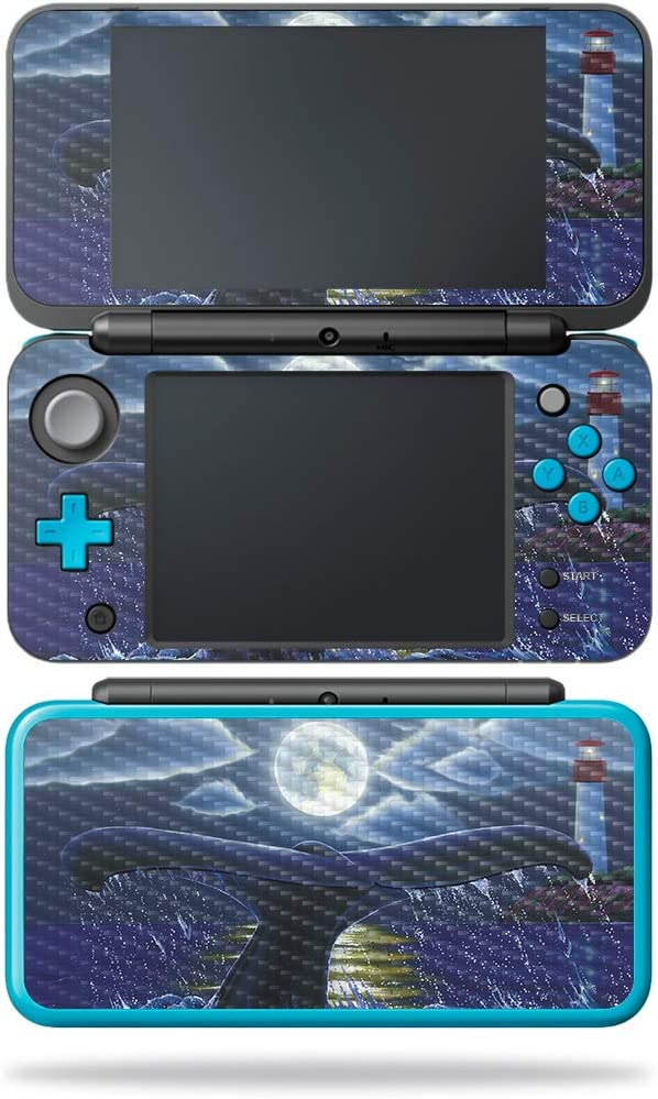 MightySkins Carbon Fiber Skin for Nintendo New 2DS XL - Whale Tail   Protective, Durable Textured Carbon Fiber Finish   Easy to Apply, Remove, and Change Styles   Made in The USA