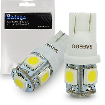 Safego 2 x T10 W5W LED Bombillas exteriores 5SMD 5050 Luz Coche trasera Lámpara Blanco Xenon Luz de interior ...