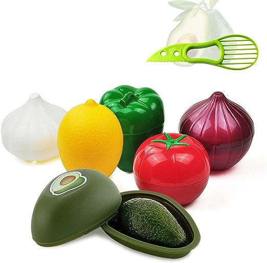 Organizzatore di plastica per Alimenti a Forma di Verdura Scatola per Alimenti Cipolla Aglio Pomodori Limone Porta Pepe Verde Utensili da Cucina Frigorifero Organizer