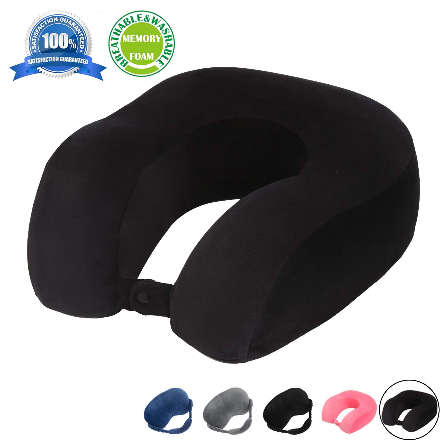 (Black) - HERIGGA Travel Neck Pillow Velvet Memory Foam Chin Support for Aeroplanes Trains Cars Office U Shaped Black B071QXGQM5 ブラック