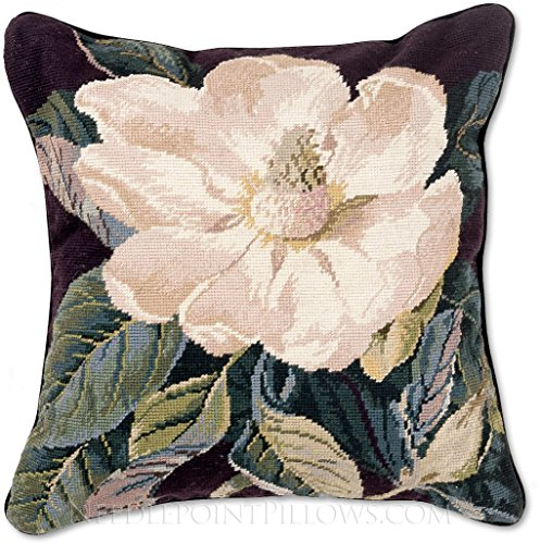 Handmade 100% Wool Needlepoint Floral Southern Magnolia Flower Throw Pillow. 18