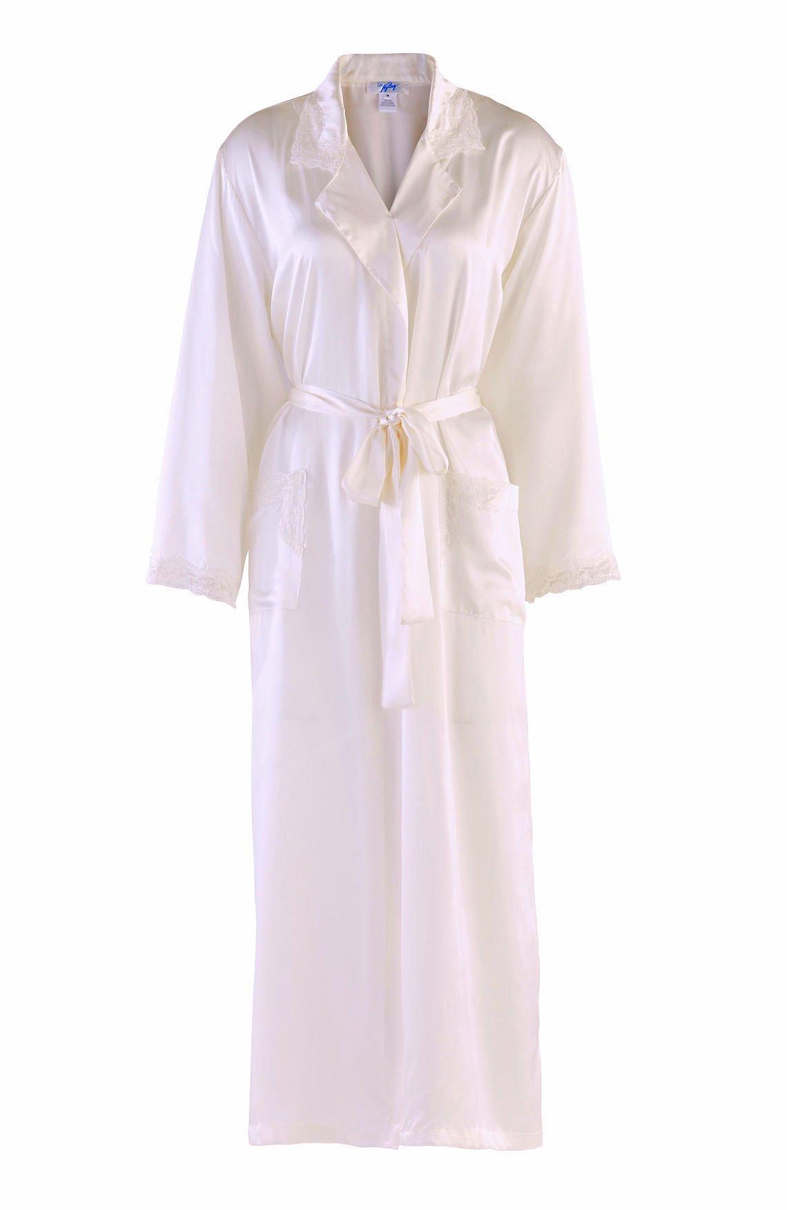 Nyteez Women's Natural Silk Long Bathrobe Dressing Gown (Small, Creamy White)