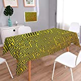 L-QN Polyester Polyester Polyester Rectangle Hardware Circuit Board High Tech Futuristic Web Abstract Illustration Marigold Black Rectangular Polyester Tablecloth 52''x70''