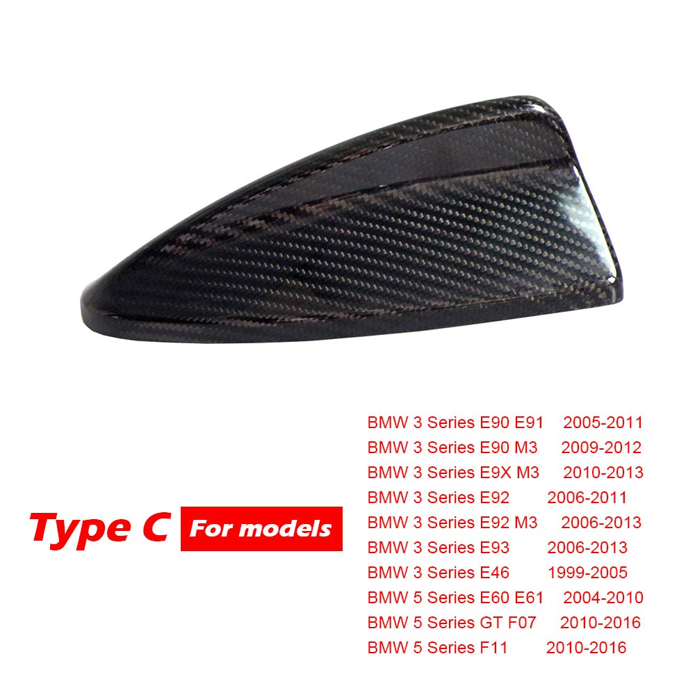 Type C Kipalm Real Carbon Fiber Shark Fin Antenna Cover For BMW E90 E92 M3 F20 F30 F10 F34 G30 M5 F15 F16 F21 F45 F56 F01 F80 Antenna Cover